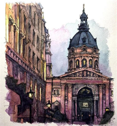 watercolor paintings  international architecture