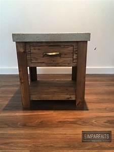 Table De Chevet Bois Brut : table de chevet bois recycl et b ton brut lesimparfaits meubles pinterest mesas y ~ Melissatoandfro.com Idées de Décoration