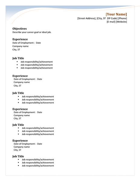 Resume Microsoft Word Template by 50 Free Microsoft Word Resume Templates For