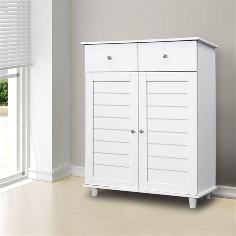 White Storage Cupboard With Doors by White Wooden Shoe Storage Cabinet 2 Doors 2 Drawers