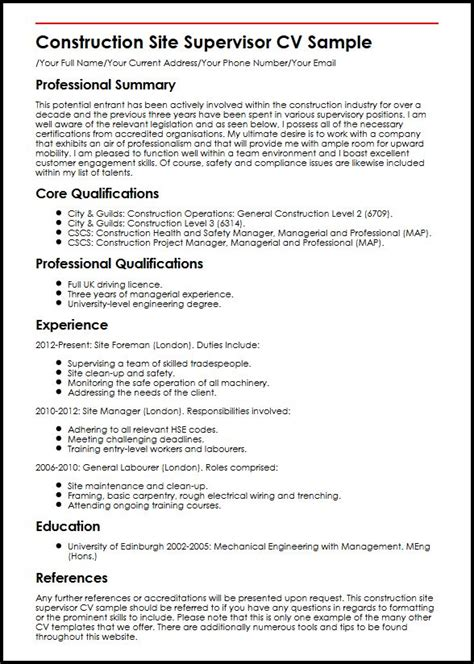 Electrical Supervisor Curriculum Vitae by Construction Site Supervisor Cv Sle Myperfectcv