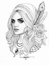 Coloring Pages Gypsy Sheets Colouring Books Tattoo Adult Adults Face Tattoos Fairy Designs sketch template