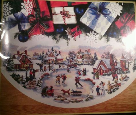 skater s village tree skirt 45 quot gold collection dimensions