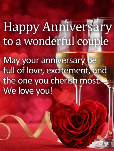 wonderful couple happy anniversary card birthday