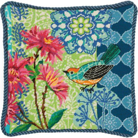 blue floral needlepoint kit  stitched  wool