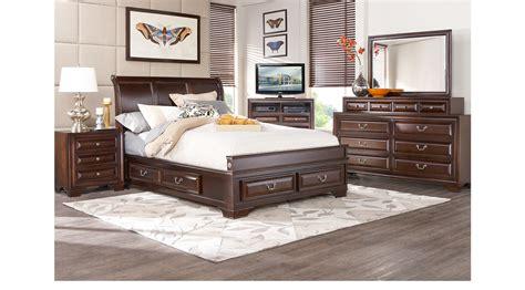 mill valley ii cherry  pc queen sleigh bedroom wstorage