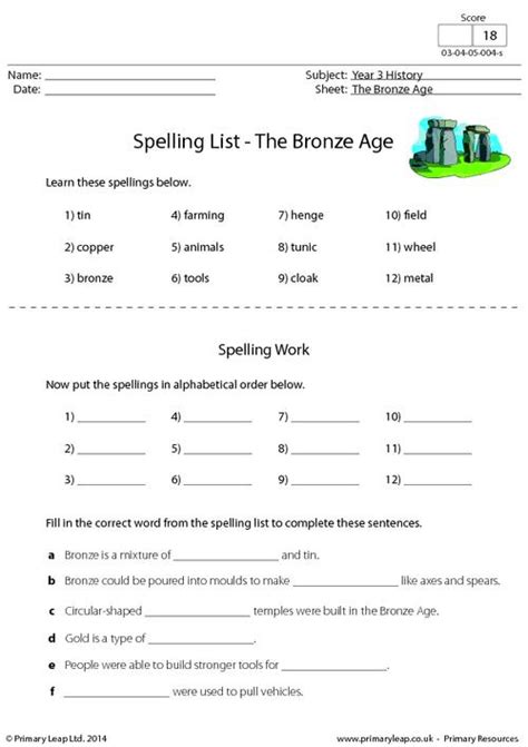spelling list the bronze age primaryleap co uk