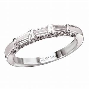 wedding band with baguettes 18kw romance milgrain With wedding rings with baguette diamonds