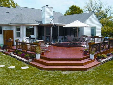 outdoor wood deck designs with color wood deck