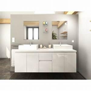 ensemble meuble salle de bain quotcolognequot 150cm blanc With meuble ensemble salle de bain