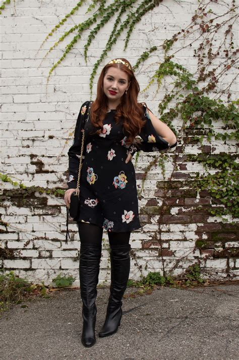 holiday dressing floral party dress thigh high boots
