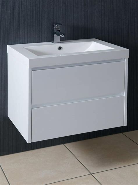 galloway mm wall hung vanity unit  basin gloss white