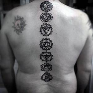 Gentleman With Chakras Spine Tattoo Black Ink Dotwork ...