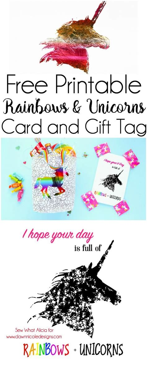 printable rainbows unicorns card templates