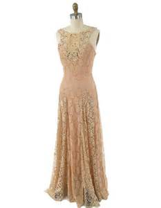 vintage inspired wedding dresses 30s style ecru blush beige lace gown vintage inspired maxi