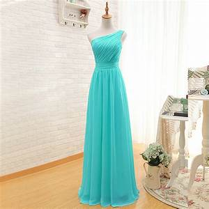 Elegant One Shoulder Pleated A Line Long Chiffon Turquoise