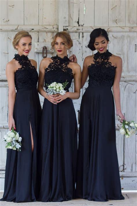 halter lace chiffon bridesmaid dress  split sleeveless