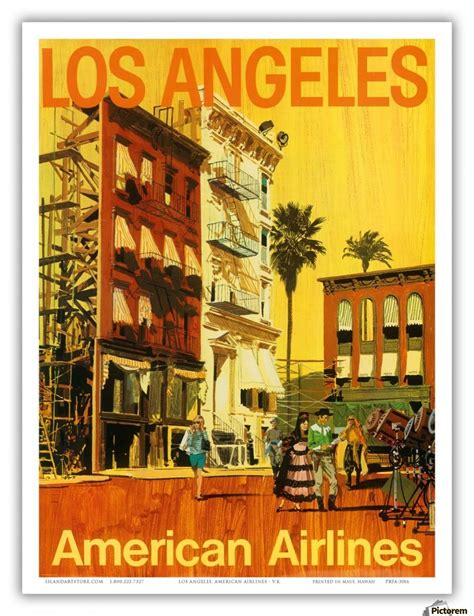 american airlines los angeles vintage travel poster