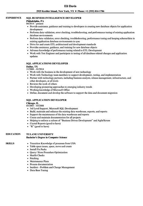 Sql Analyst Resume by Sql Resume Sles Velvet