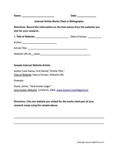 article works cited or bibliography worksheet