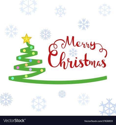 merry christmas text with christmas tree vector image
