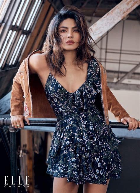 priyanka chopra elle canada magazine dress photoshoot hd latest shoot gotceleb poses ki marant florals isabel suede coach jacket wearing