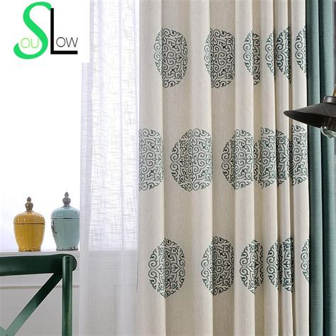 style embroidered curtains for living room