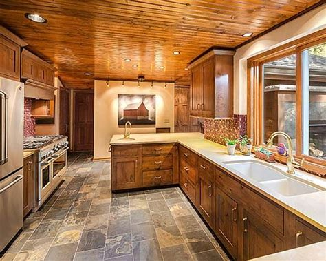 quartz counters and knotty pine cabinets kitchen 2013 remodeled homes tour