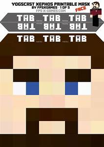 printable minecraft mask of yogscast xephos With minecraft mask template
