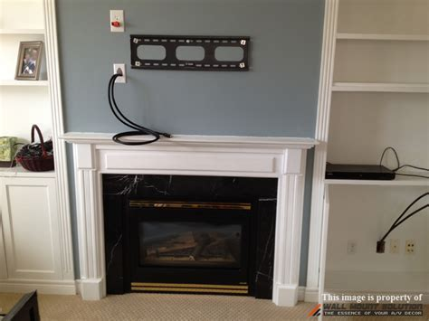 TV wall mount installation with wire concealment over