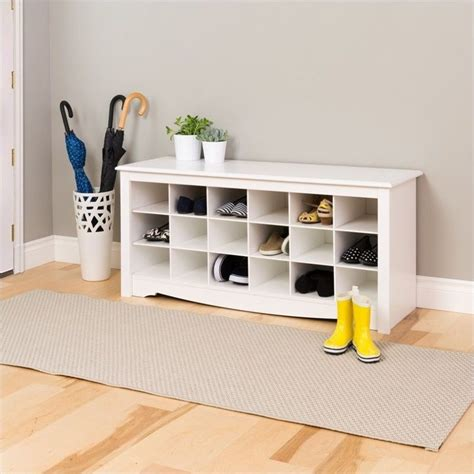 bench with shoe cubby prepac white storage cubbie bench shoe rack ebay