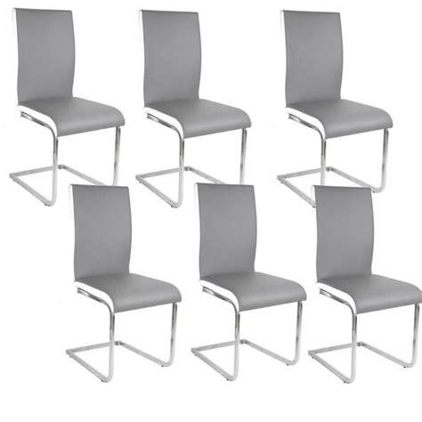 chaises lot de 6 lea lot de 6 chaises de salle à manger blanches grises achat vente chaise cdiscount