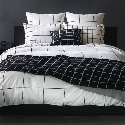 White Blanket Cover by Grid Black Duvet Cover Unison