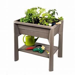 Jardiniere Sur Pied Plastique : jardini re sur pieds taupe serre 80 litres v g table ~ Dode.kayakingforconservation.com Idées de Décoration