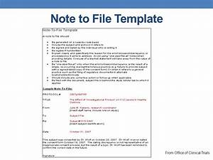Orientation for new clinical research personnel module 2 for Note to file template