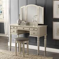 make up vanity Tri Folding Mirror Vanity Set Makeup Table Dresser w/ Bench 5 Drawer Silver Wood | eBay