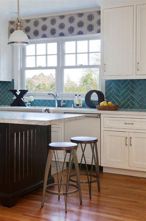 Kitchen Backsplash Turquoise by Kitchen With Turquoise Herringbone Backsplash