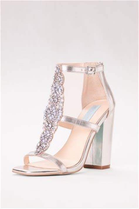 crystal  strap high heel sandals  block heel david
