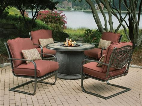 outdoor table with firepit covered patio pit gas