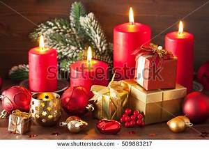 Christmas Decorations Gift Candle Front Fireplace Stock