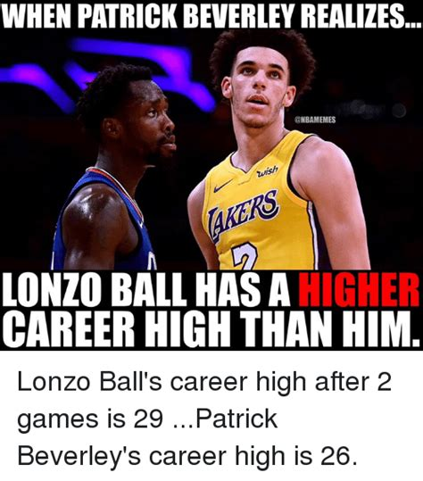Ball Memes - when patrick beverley realizes wish lonzo ball has ahigher career high than him lonzo ball s
