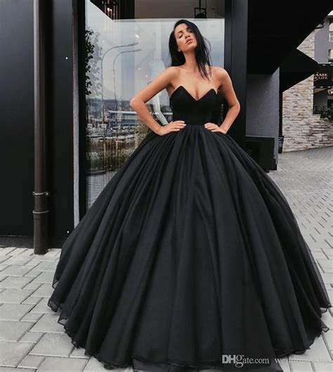 cheap black ball gown wedding dresses strapless neck