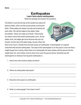 earthquake comprehension grade