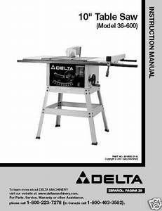 Delta 10 U0026quot  Table Saw Instruction Manual Model   36