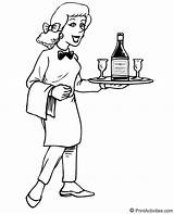 Waitress Coloring Serving Drinks Jobs Carrying Seems Happy sketch template
