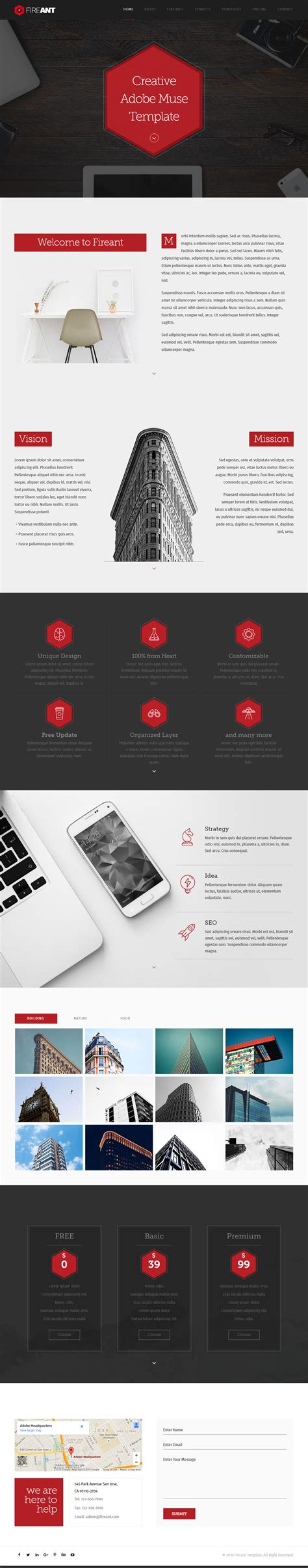 adobe muse mobile templates 15 best one page muse templates 2017 responsive miracle