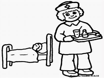 Gambar Perawat Mewarnai Pasien Sketsa Sakit Kartun
