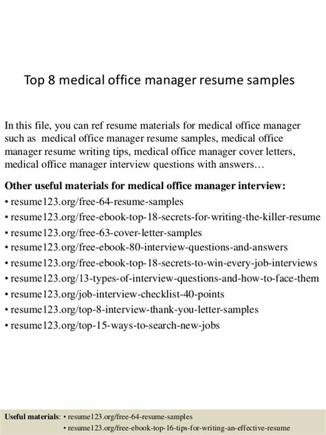 top 8 office manager resume sles