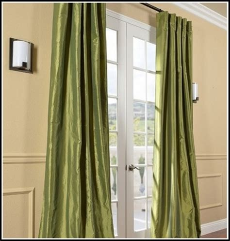 Dark Green Faux Silk Curtains - Curtains : Home Design