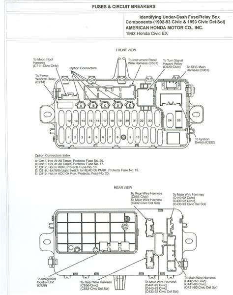 1997 Honda Civic Wiring Diagram by 97 Honda Civic Fuse Panel Wiring Diagram And Schematic